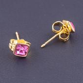 шикарные серьги-гвоздики с кристаллами Swarovski, цвет розовый, позолота 585 пробы