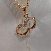 очень красивая и нежная подвеска - поцелуйчик , фианиты, на цепочку или браслет, позолота 585 пробы