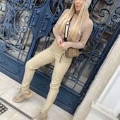 Стильные плотные брюки с карманами, размер L
