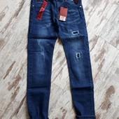 Фирменные плотные джинсы зауж модель цвет синий р134 длина 77/58см