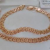 19.5 см! шикарный широкий браслет, оригинальное плетение, ширина 7 мм, позолота 585 пробы