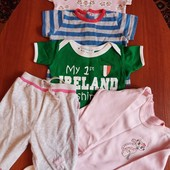 Одним лотом: Четыре футболки для малышей 0-9 мес.велюровые штанишки, шапочка, бодик в подарок