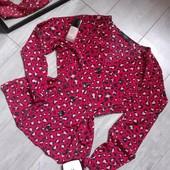 Крутая блуза красно черный леопард