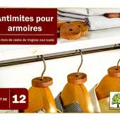 Набор 12 шт. Натуральное средство от моли, освежитель для гардероба из древесины кедра Lidl Германия