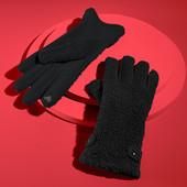 ☘ Теплі сенсорні рукавички з джерсі з поверхнею букле на флісі від Tchibo (Німеччина), розмір 8