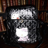 Большая черная сумочка Hallo Kitty