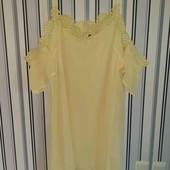 Жовте плаття Boohoo з відкритими плечами на пишні форми,розміру 24(Пог 66)