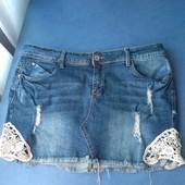 Симпатичная джинсовая юбочка- мини, р.48-50