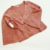 Пепельная роза - модный цвет и модель, теплая кофта на запах с расклешенными рукавами