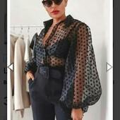 Шикарная блузка с объемными рукавами горохи