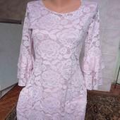шикарное платье Италия,зефирный цвет ,с-м