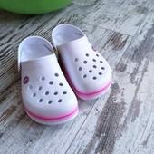 Стильные кроксы сабо шлепки Даго бело/розовые подросток/ жен р36, 23см