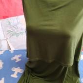 Платье из тонкого трикотажа цвета хаки на 42 евр.