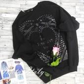 Свитшот молодежный черный с воланами на рукавах