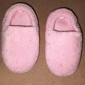Нежные розовые мягкие тапочки для девочки стелька 14,5