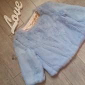 Крутецкая нежно голубая шубка полушубок натуральный мех кролик на крючка есть карманы
