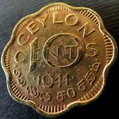 №32 монета Цейлон 10 центов, 1944