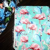 Яркий рюкзак сумка для обуви, учебников, покупок. Фламинго. Плотный текстиль, прочные веревки. 47*35