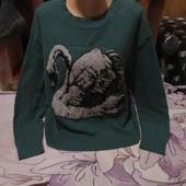 Эксклюзивный зелёный тёплый стречь свитерок.Шерсть.Акрил.H&M.xxl,3xl,4xl. Смотрите лотов много