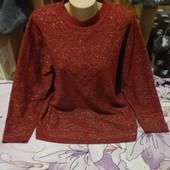 Шикарный коричневый весь с люрексом серебра стречь свитерок. Акрил100%. 3xl,4xl,5xl. Лотов много