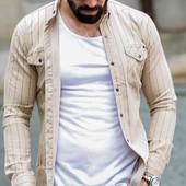 Классная джинсовая √√ песочный хаки √√ стильная рубашка ,М / и д е а л.