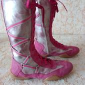 Шкіра замш+кожзам чобітки в спортивному стилі,вир.Італія,р 39 ст 25.5 см,