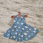 Красивое платье солнеклеш, в сердечки.,/ суперовое, р128 7-8лет