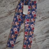Модные леггинсы лосины джинсово цветочный принт. Плотные с подкладом. Весна р4' 60/40см