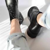 чёрные женские ботинки из натуральной кожи с кожаным подкладом 40 размера