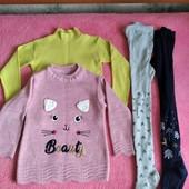 Для девочки на 6 лет. Гольф, свитер, 2 колгот на рост 116-120.