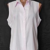 Белая рубашка в розовую полоску,56%вискозы,xl/2xl