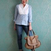 Нежно-голубая блуза с длинным рукавом и вставкой р. 36 или 40 евро от Tchibo