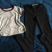 Женские скинни с завышенной талией + футболка для дома