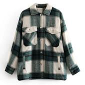 Теплая байковая фланелевая рубашка в клетку оверсайз в стиле zara