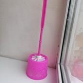 Ёрш для унитаза с подставкой ажурный пластик розовый неон