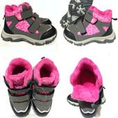 Утепленные демисезонные ботинки для девочек! Размер 30(18,5см.).Тепло,качественно, красиво, удобно!
