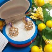 Новинка!!!Шикарные серьги с фиолетовыми кристаллами+фианиты позолота 585 пробы