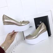 тренд!!!туфли на платформе, розовое золото, кожа