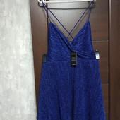 Фирменное новое красивое блестящее платье на перекрестных бретелях р.14-16
