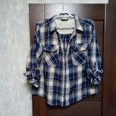 Фирменная красивая коттоновая блуза-рубашка в хорошем состоянии р.16-18