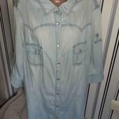 Джинсова рубашка з коротким рукавом(регулюється), р30(Пог -74)