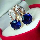 Красивые серьги с синим цирконом,позолота 585 пробы