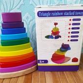 Деревянная пирамидка MD 2755 | Пирамида радуга| Башня | Развивающая игрушка пирамидка радужная гора