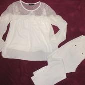 Гипюровая ажурная блуза Today р. М и белые джинсы!