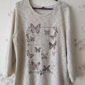 Лёгкий свитер ,принт бабочки,люрекс