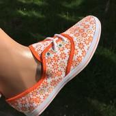 Кеды - мокасины в Оранжевую РОмашку с легким НАпылением блесток*** размеры в описании: