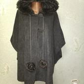Шикарное флисовое тепленькое мягенькое пальто накидка р.(44-46-48-50-52-54-46-58) оверсайз