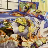 Детское сатиновое постельное белье Elway 3D. 100% хлопок