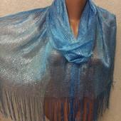 Шикарный нарядный яркий голубой палантин с серебряным люрексом можно под купальник 200/50 Новый