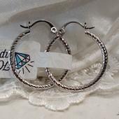 очень красивые круглые узорные серьги-кольца-конго Ø-2.5 см, родий